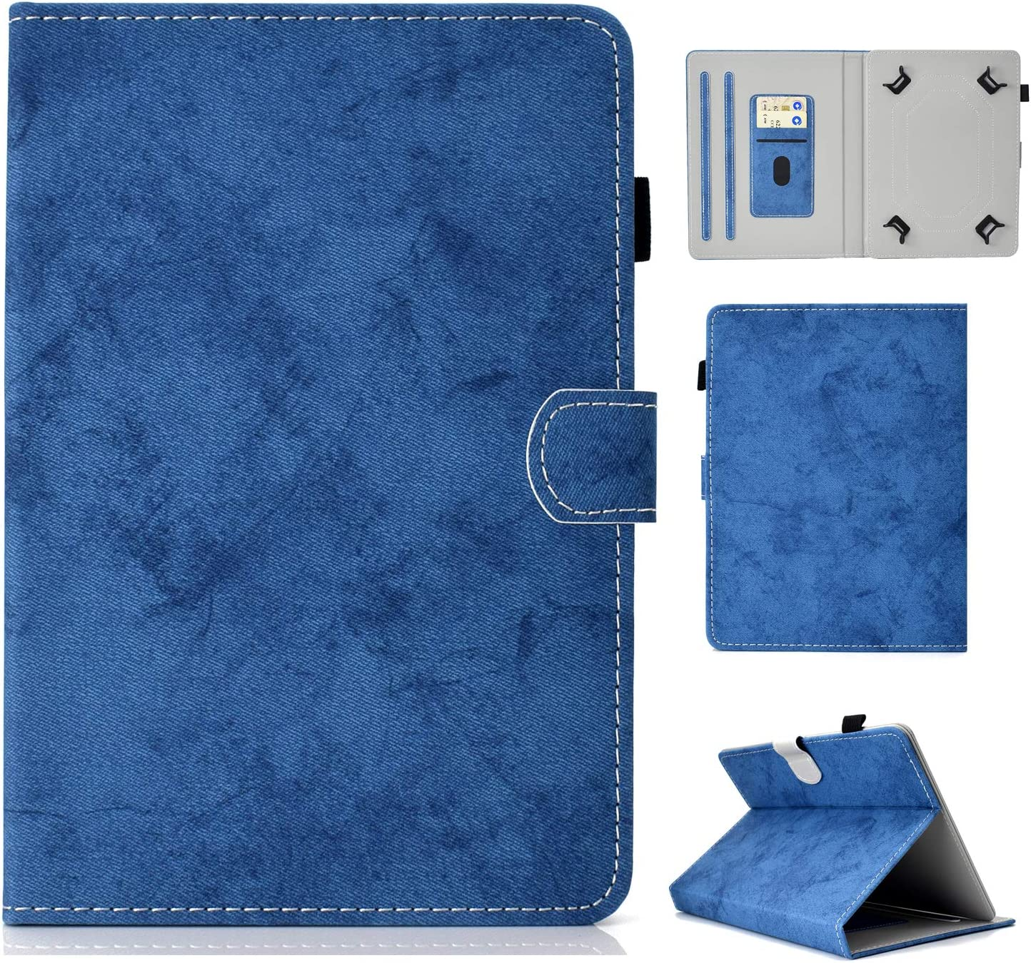 """UGOcase Universal 8.0"""" Tablet Case, Slim Fit Kickstand Folio Cover Pencil Holder Protective Cards Slots Case for Fire HD 8, Galaxy Tab, RCA, ASUS, Acer and More 7.5-8.5"""" Tablet, Blue"""