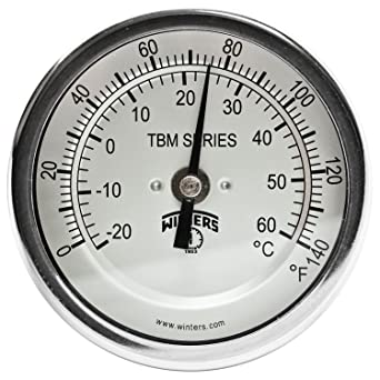 2-1//2 Stem 1//2 NPT Adjustable Angle Connection 0-200 F//C Range 3 Dial Winters TBM Series Stainless Steel 304 Dual Scale Bi-Metal Thermometer
