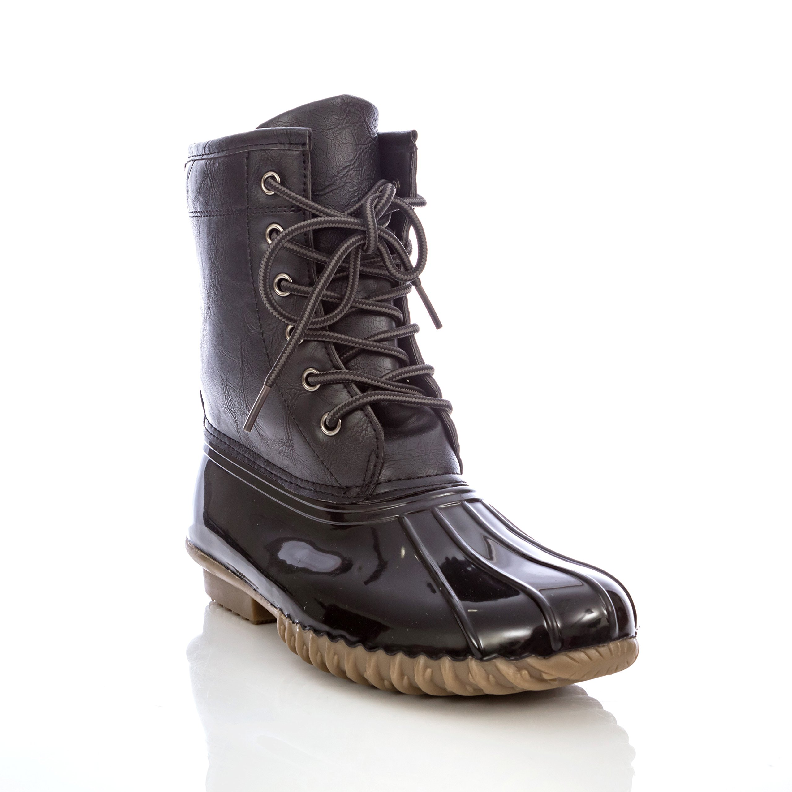 Charles Albert Women's Lace-up Insulated Mid-Calf Waterproof Duck Rain Boots (7, Black)