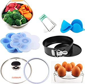 RuiSang Instant Pot Accessories Set Value Pack-Fits 5 6 8 QT Pressure Cooker: Steamer Basket, Springform Pan, Tempered Glass Lid, Rack, Bowl Clip, Silicone Egg Bites Mold, Oven Mitt & Sealing Ring,