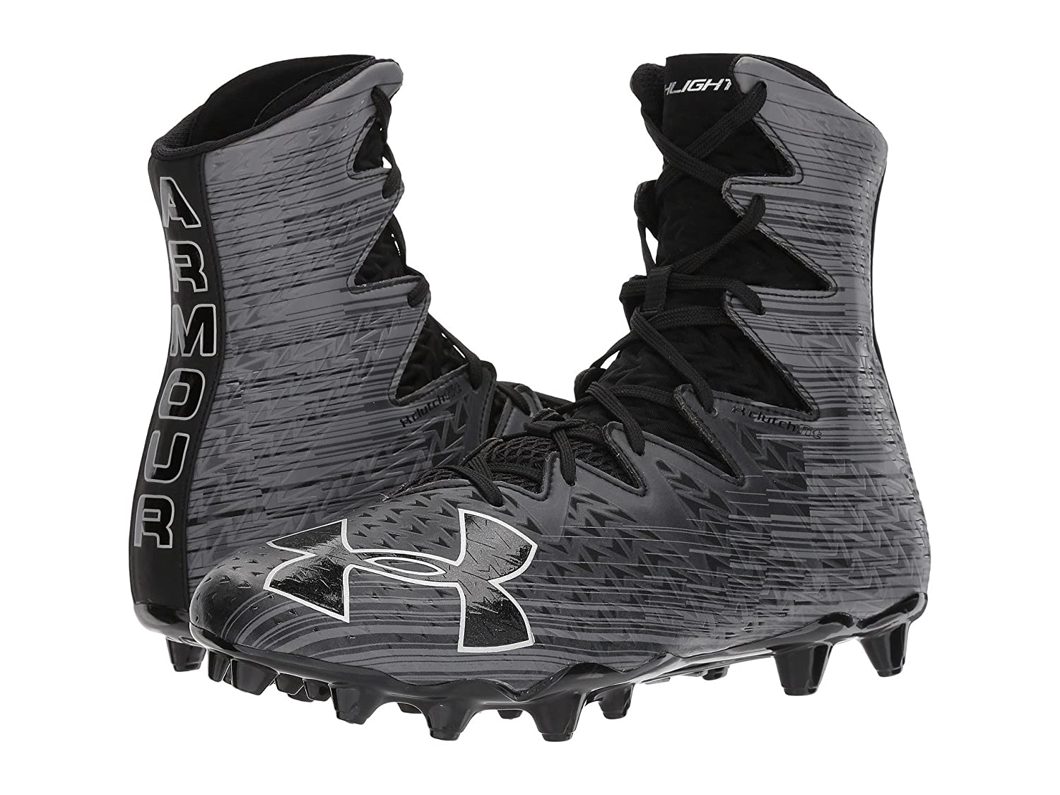 (アンダーアーマー) UNDER ARMOUR メンズフットボールアメフトシューズ靴 UA Highlight MC Black/Metallic Silver 7 (25cm) D - Medium B07C14PHF7