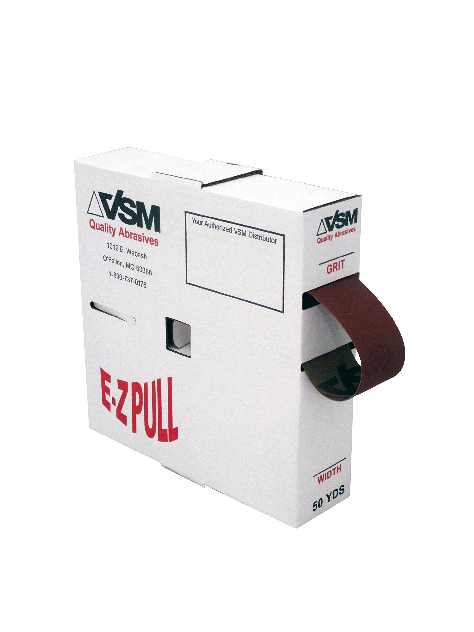VSM Abrasives 1'' X 50 Yard 180 Grit Aluminum Oxide Cloth Roll, Very Fine Grade, F Weighted Backing by VSM