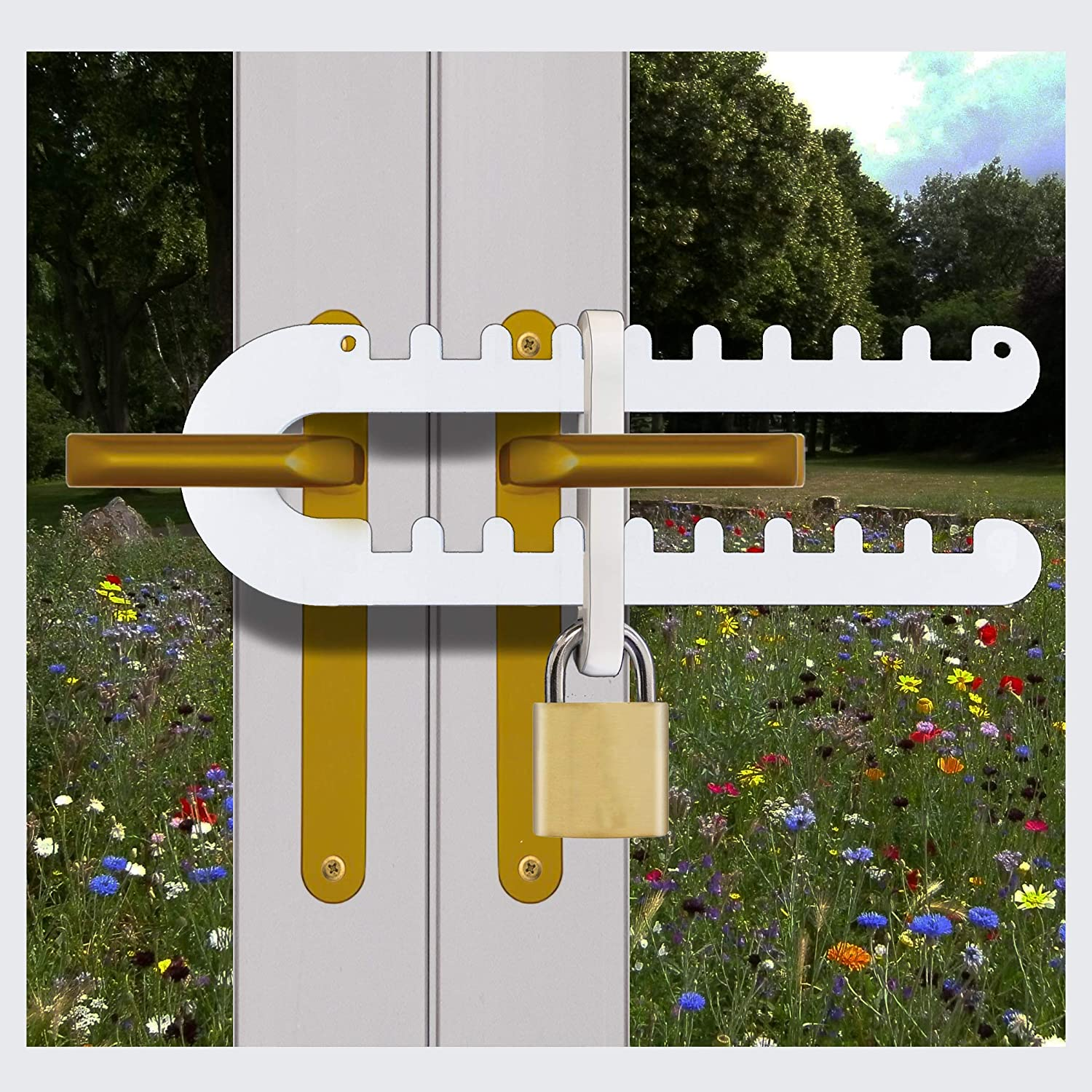 Tough & Easy French Patio Door Lock for Double Door Handle 'P', D' or  Standard Handles High Security Deadlock Also Fits Sliding Handles Visible  from
