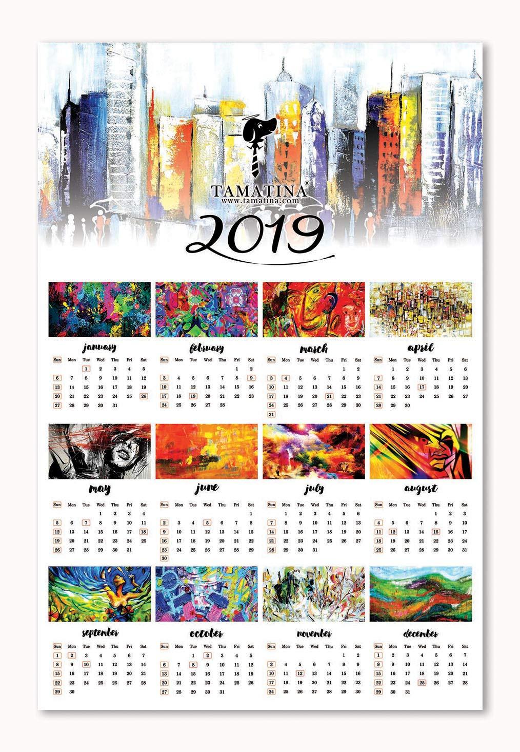 Tamatina 2019 calendar - Modern Art Painting Calendars - Wall Calendars  2019 - 2019 Calendars for Home - Trippy Calendars - 2019 Calendars for  Office - HD ...