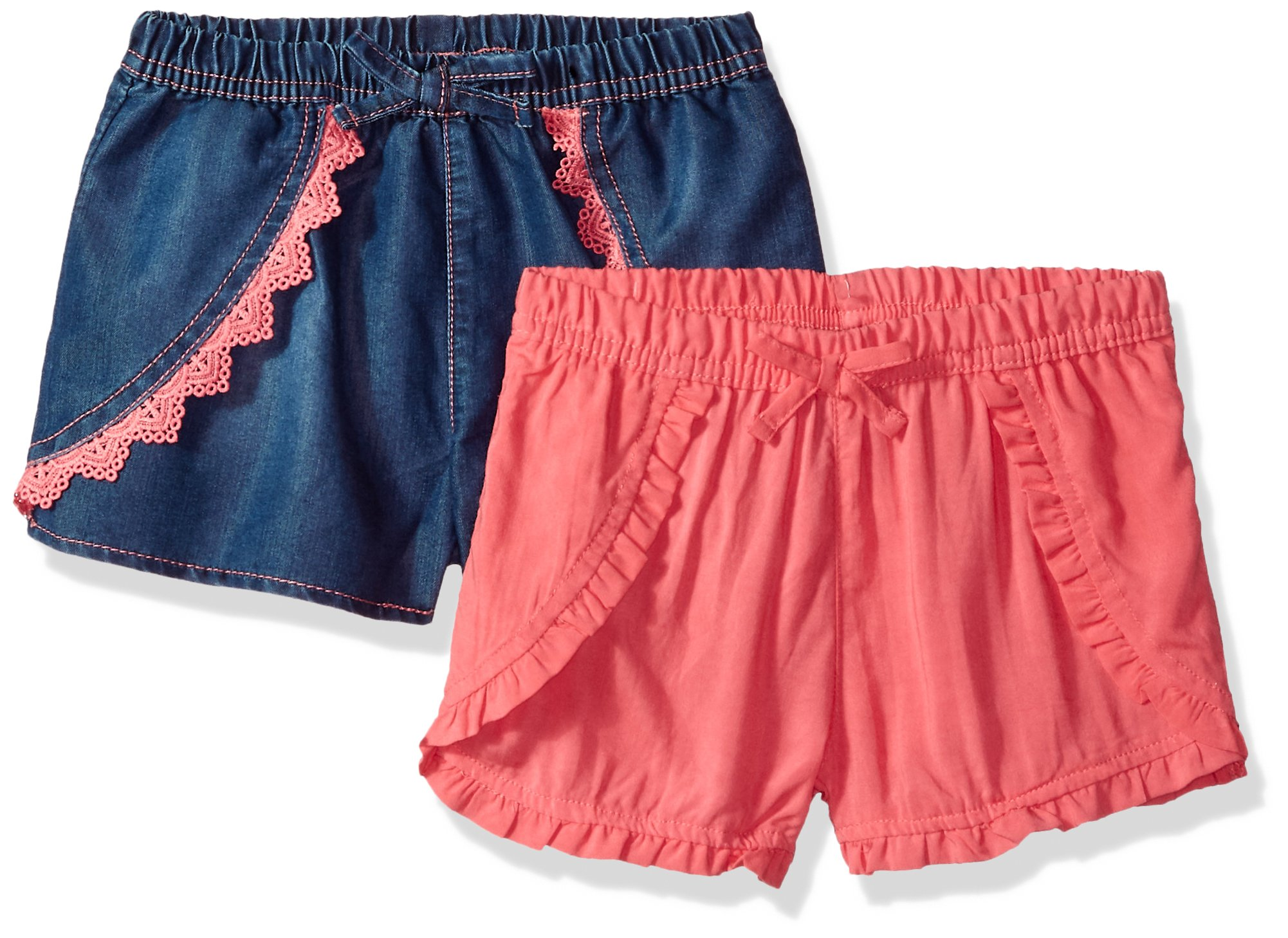 Limited Too Little Girls' 2 Pack Short, Tencel Neon Coral with Coral Neon Coral, 6X