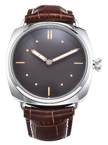 PARNIS 9090 clásica cuerda manual para hombre de pulsera de reloj 47 mm Reloj de hombre acero inoxidable 316L Carcasa de piel de pulsera Marca Reloj Seagull ...