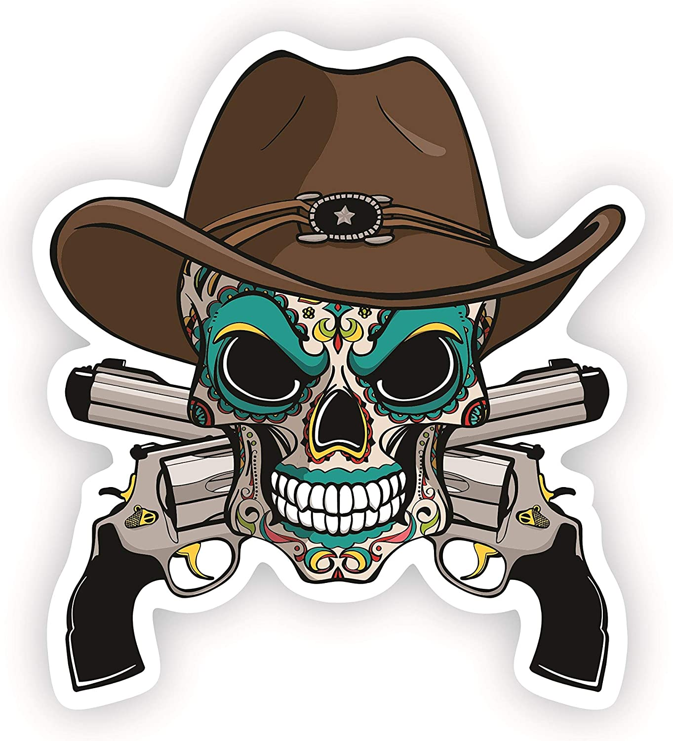 5.8 Inches. Horror Decor Crossed Guns Vinyl Decal For Cars Skull Color Stickers For Laptop//Macbook Decals Day Of The Dead Car Decal Home Decor A/&B Traders Cow boy Hat Sugar Skull Stickers