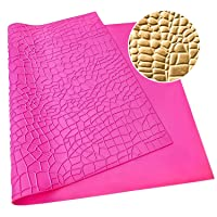 Warmoor Silicone Cake Fondant Mat, Crocodile Alligator Pattern Impression Lace Mold (22 x 14 inches, Pink Crocodile)