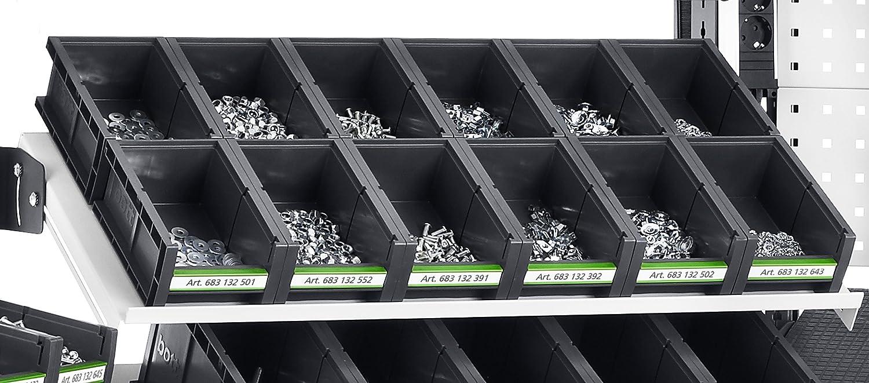 264 x 398 x 165 mm 6 St/ück 13022050.19 bott Sichtlagerkasten bottbox 2.4.165 mit Beschriftungsclip