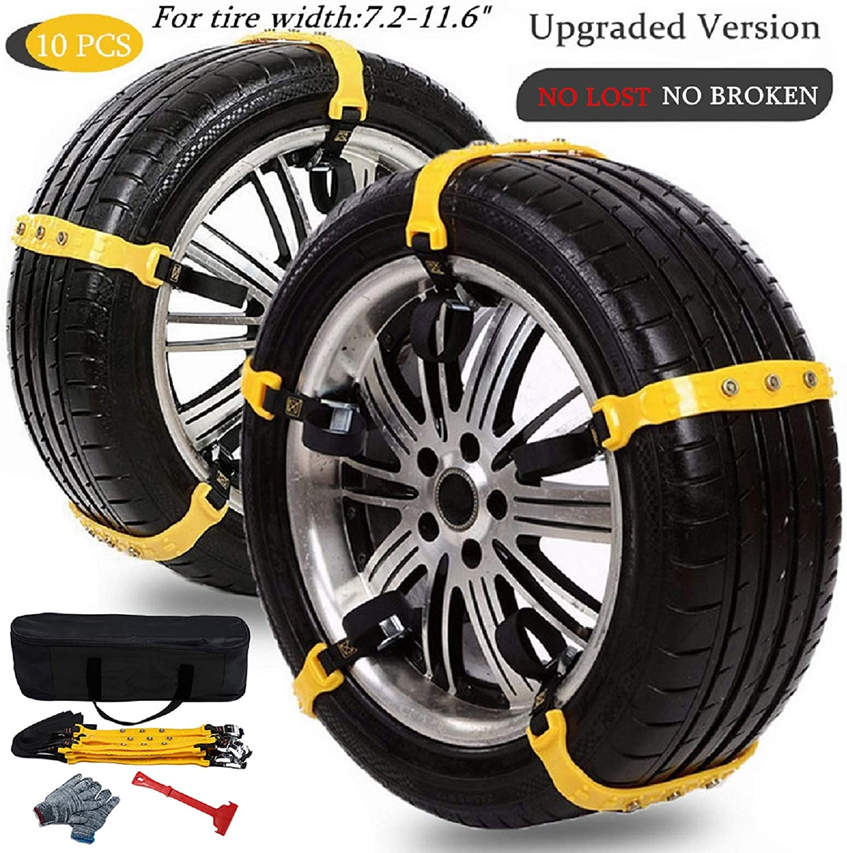 Kinnart Anti-Skid Tire Chain Portable,10Pcs 92cm Snow Rain Mud Car Automobiles Wheel Tyre Nylon Chains Belt,Anti-slip Car Winter Snow Vehicle Tyre Wheel Cable Ties for Car Orange