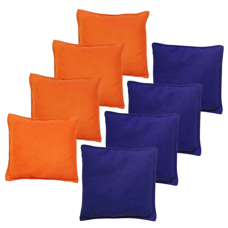 JMEXSUSS Weather Resistant Standard Corn Hole Bags, Set of 8 Regulation Cornhole Bags for Tossing Game (Orange/Blue) by JMEXSUSS
