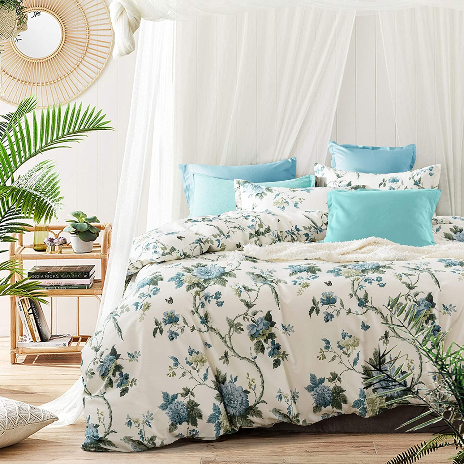 Exotic Modern Floral Print Bedding Birds Flowers Dusty Grey Design 100% Cotton Duvet Cover 3pc Set Hibiscus Blossom Branches in Muted Gray Blue (King, Egret White)