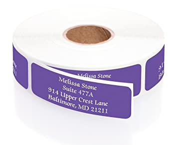 Purple Colored Personalized Address Labels With White Print And Elegant Plastic Dispenser