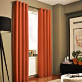 """Gorgeous Home *DIFFERENT SOLID COLORS & SIZES* (#72) 1 PANEL SOLID THERMAL FOAM LINED BLACKOUT HEAVY THICK WINDOW CURTAIN DRAPES BRONZE GROMMETS (ORANGE, 95"""" LENGTH)"""