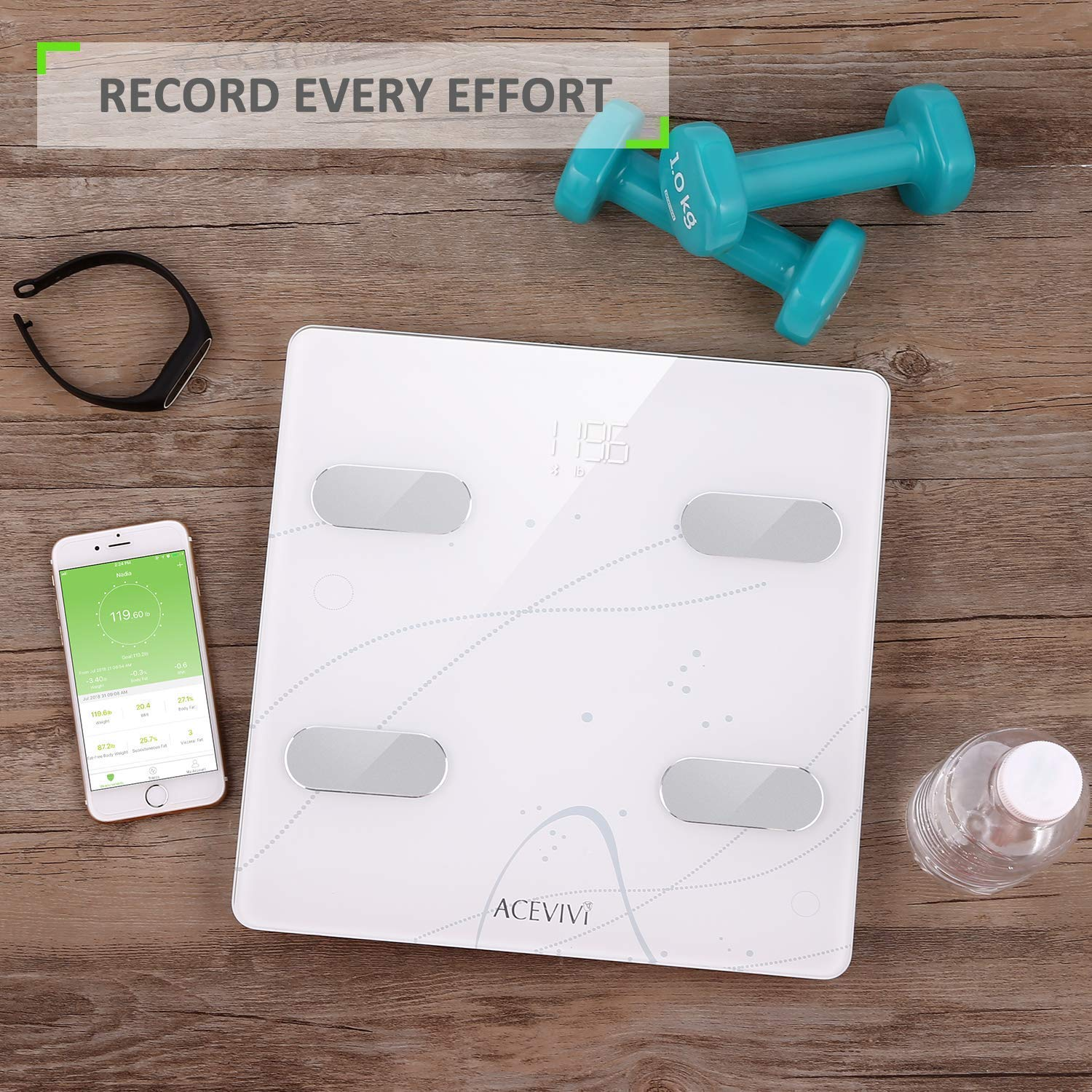ACEVIVI Weight Body Fat Scale, Digital Bathroom Scale Bluetooth, Smart BMI Scale Body Composition Analyzer with Smartphone App - 13 Essential Measurements (White)
