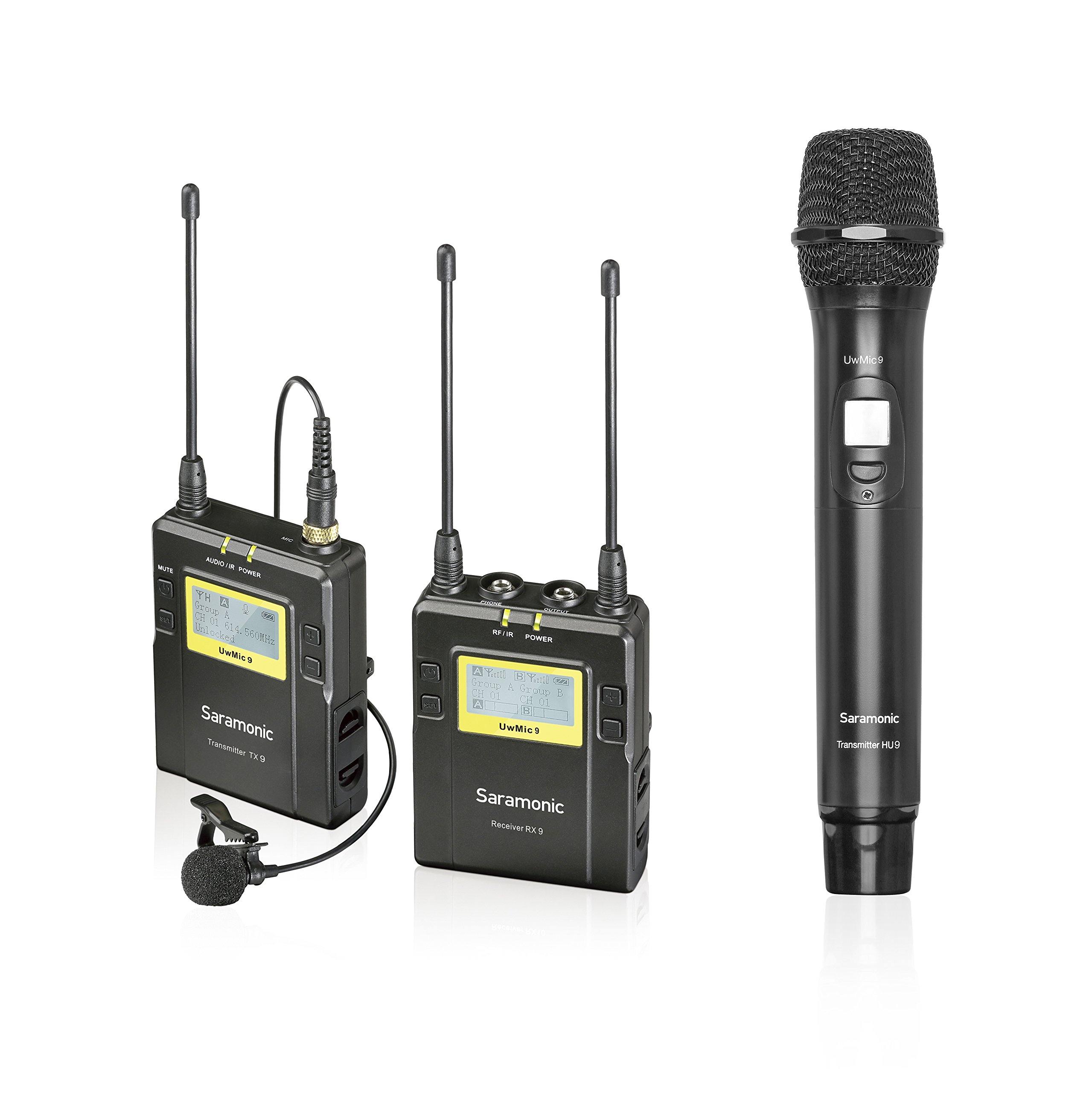 Saramonic UWMIC9 UHF Wireless Lavalier + Handheld Microphone System with Bodypack Transmitter + Lav Mic, Handheld Mic with Transmitter, Receiver, Shoe Mount, XLR/3.5mm Outputs by Saramonic