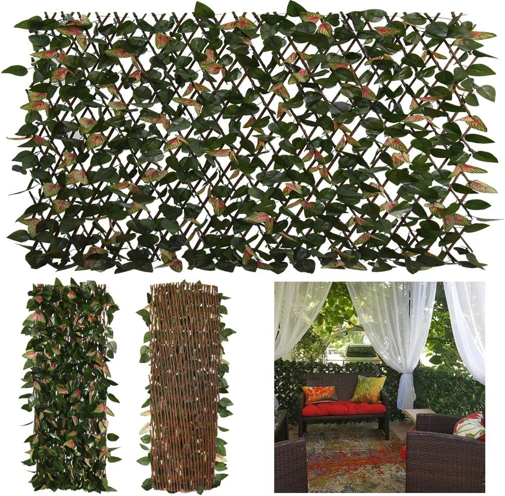 GLANT Expandable Fence Privacy Screen for Balcony Patio Outdoor,Decorative Faux Ivy Fencing Panel,Artificial Hedges (Single Sided Leaves) (1, Green-Pink)