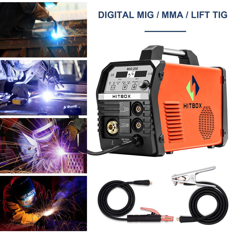 Inversor Mig Soldadura 200Amp 220V DC MIG MAG ARC Levante TIG ARC Gas Gasless Sin núcleo Alambre de núcleo sólido Soldador de alambre 3 en 1 Máquina IGBT ...