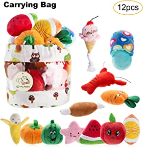 Nocciola12 Pack Dog Squeaky Toys Cute Plush Toys for Small MediumDog|PetToys|Squeaky Toys|Plush Games| Carry Bag