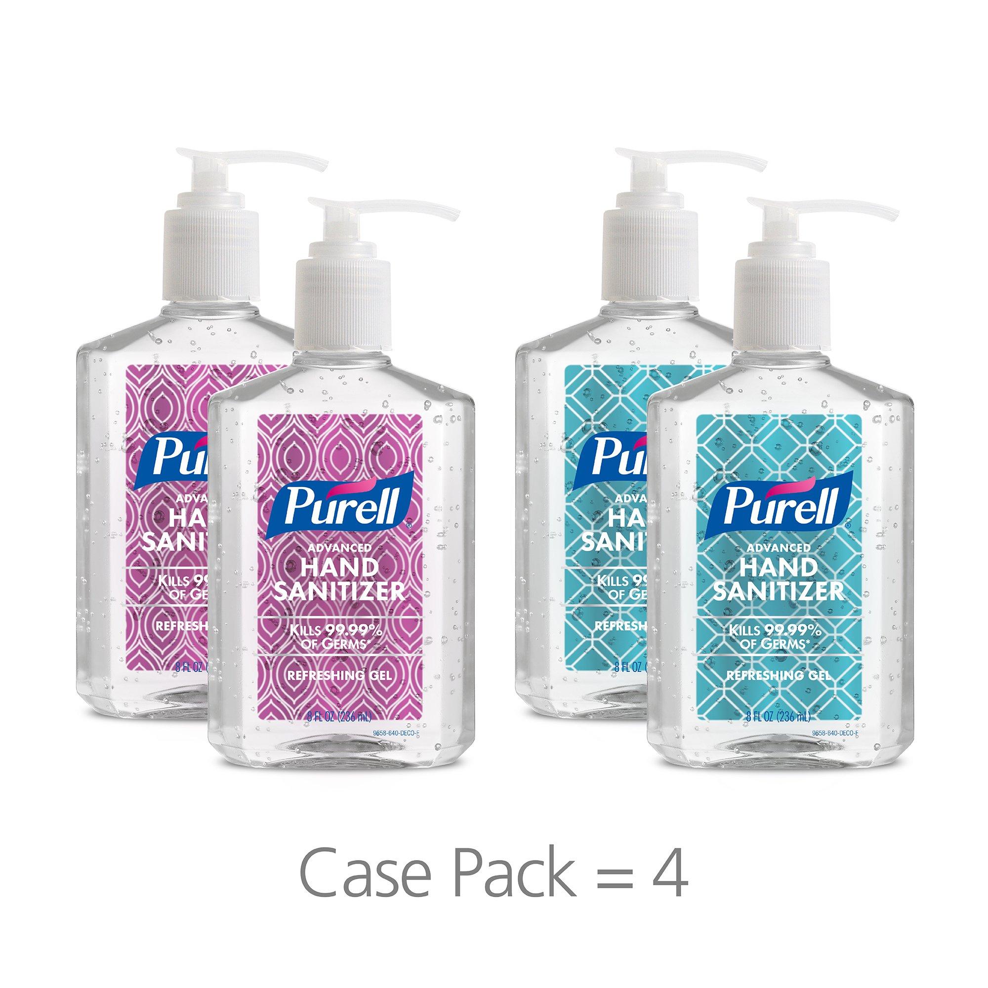 PURELL Advanced Hand Sanitizer Gel, Metallic Design Series, 8 fl oz Counter Top Pump Bottle (Pack of 4) 9658-06-ECDECO