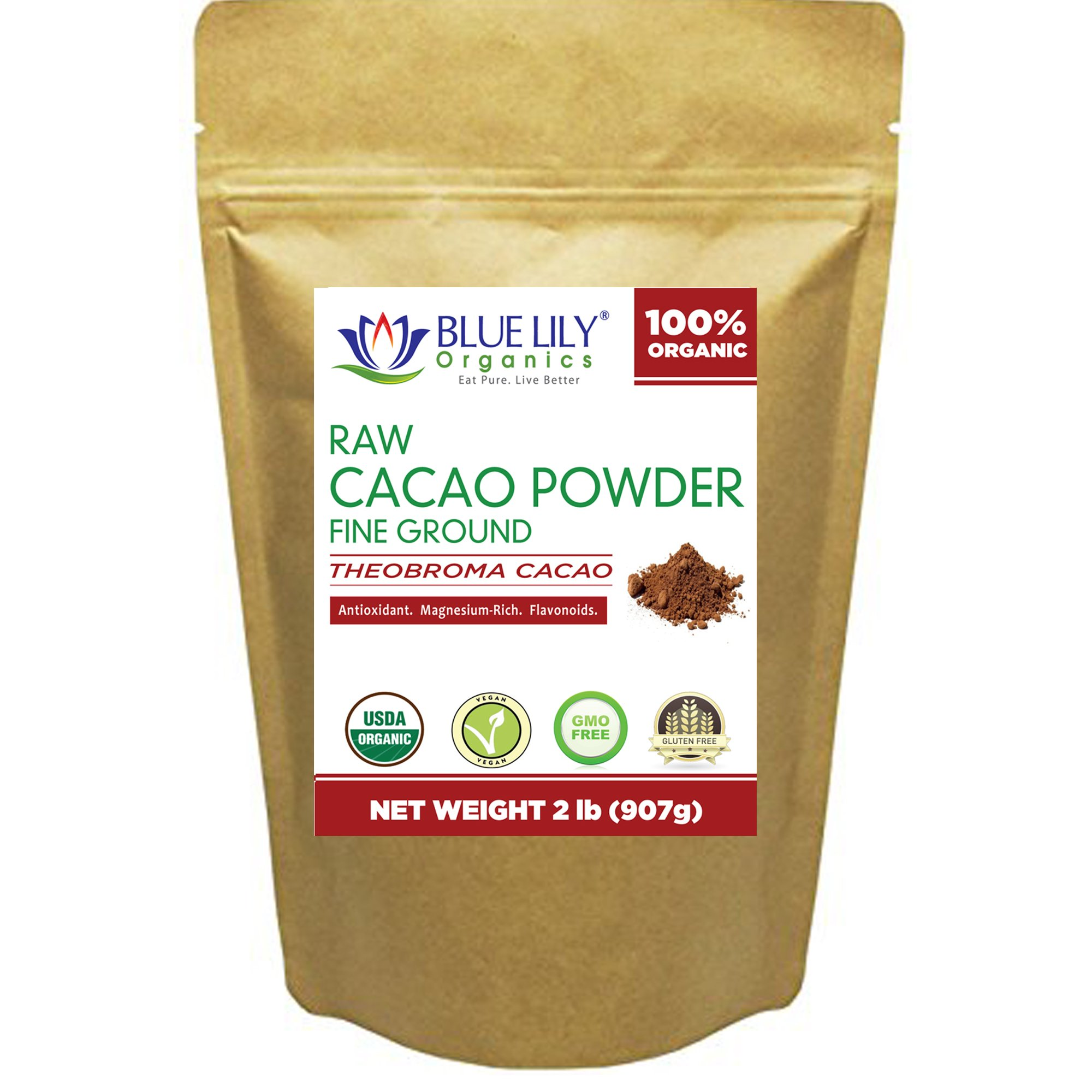 Cacao Powder - 2 lb - Certified Organic, Unsweetened (Dark Cocoa Powder), Antioxidant Superfood, Made from the BEST tasting PREMIUM Criollo Cacao Beans
