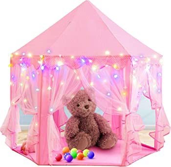 RegeMoudal Princess Tent Pink Play Tents with 25ft Star Lights