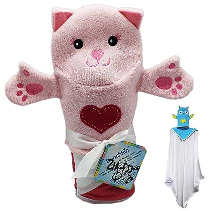 Rosa gato con rosa corazón bunchkin marioneta toalla