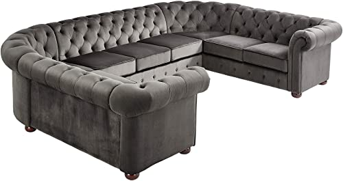 Inspire Q Knightsbridge Tufted Scroll Arm Csterfield 9-seat U-Shaped Sectional by Artisan Charcoal