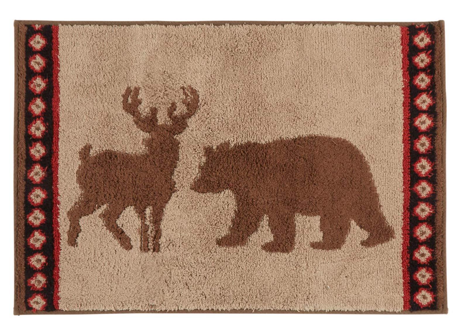 Bath Rug Lodge Deer Stripe Bear Plush Bathroom Mat, Non-Slip Backing, 20 x 30 inches,