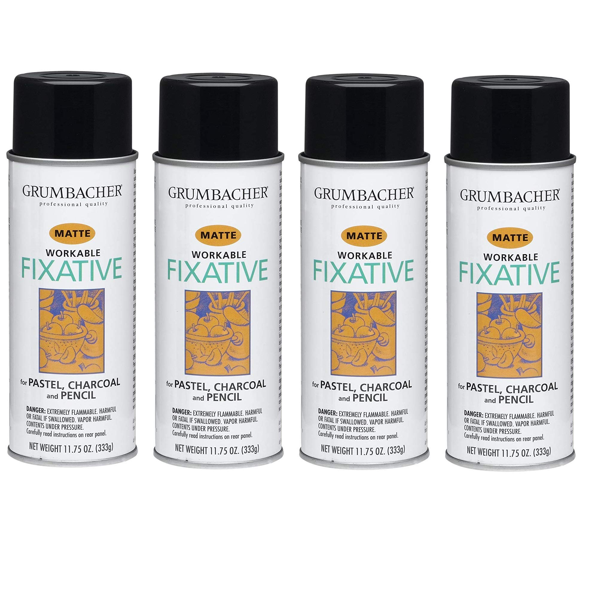 GRUMBACHER 546 11-3/4-Ounce Workable Fixative Spray, 11-3/4-Ounce Can, 4 Pack by GRUMBACHER