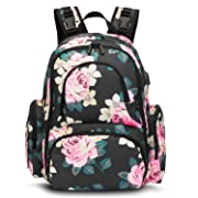 CoolBELL Baby Diaper Backpack Bag with Insulated Pockets/Water-Resistant Baby Bag/Multi-Functional Travel Knapsack with USB Charging Port for Men/Women / Girls/Boys (Black Peony)