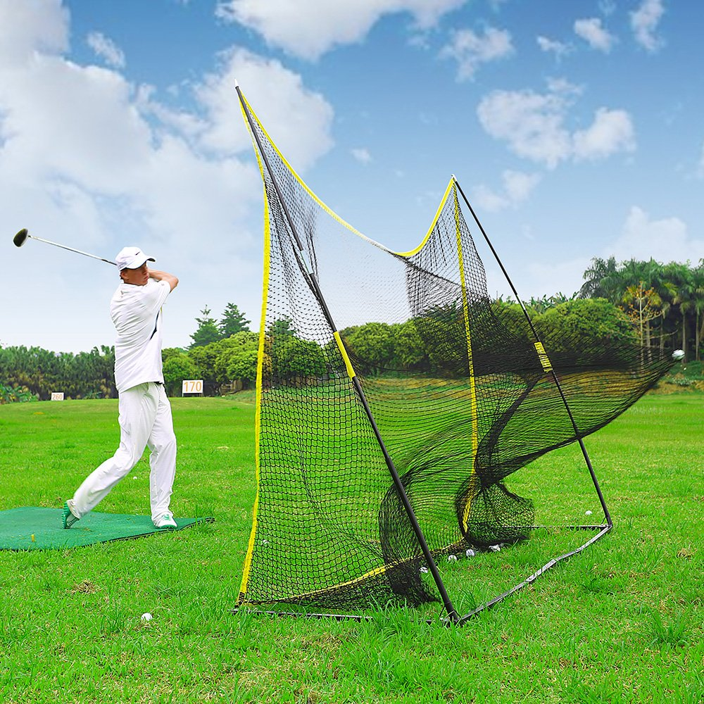 PodiuMax Portable 10x7ft Hitting Net with Carrying Bag - Golf, Soccer, Baseball, Softball Barrier Netting for Backyard | Park | Beach Use, Perfect for Practice Indoor | Outdoor