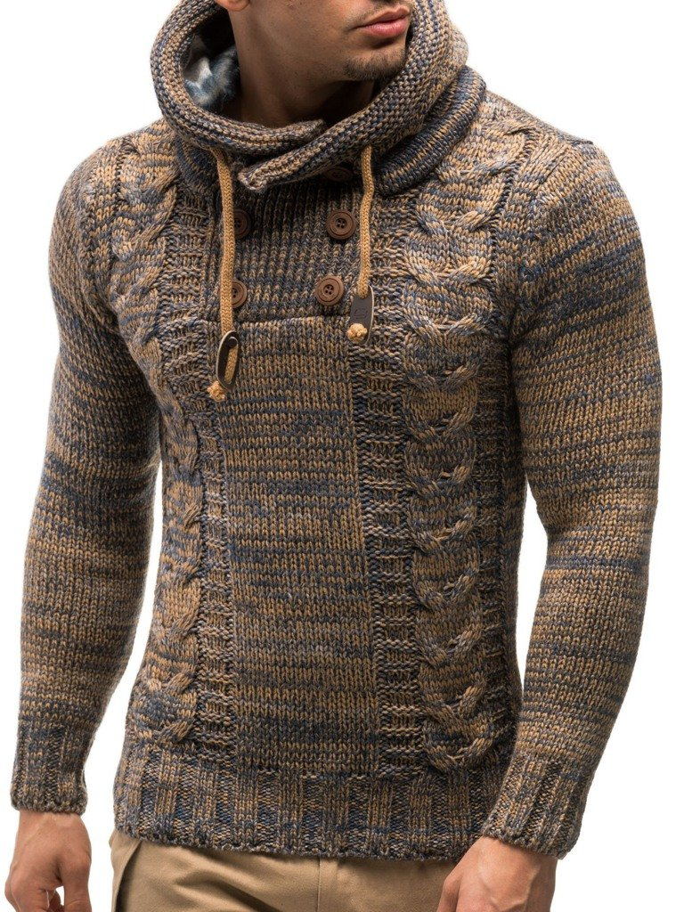 LEIF NELSON Men's Knitted Pullover Sweater Hoodie Jacket Long Sleeve Slim fit LN20227NN