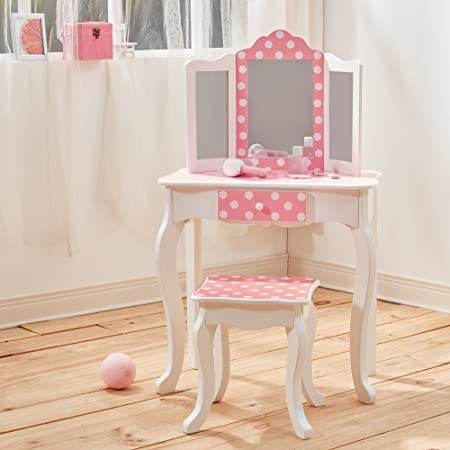Mesa de tocador rosa de madera con espejo y banqueta de Teamson ...