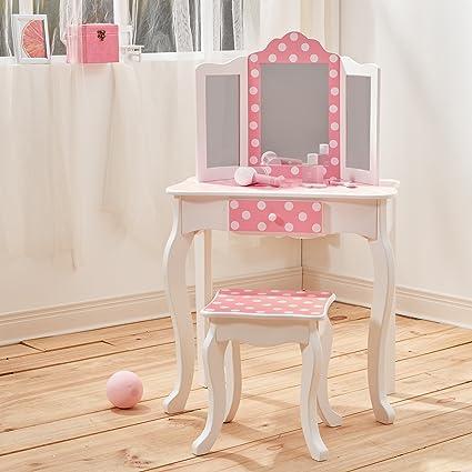 Merveilleux Teamson Kids Fashion Prints Polka Dot Wooden Vanity Table U0026 Stool Set