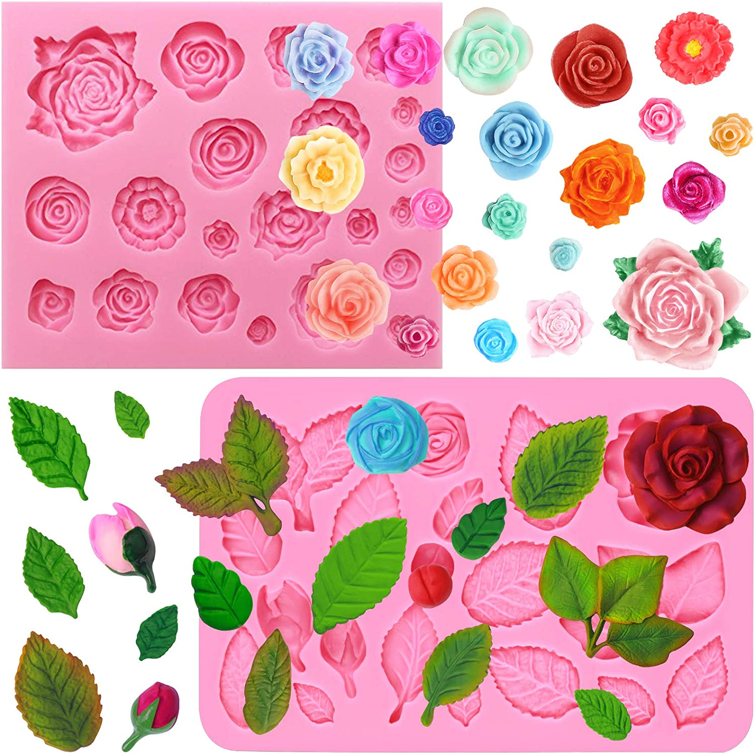 FUNSHOWCASE Rose and Leaf Collection Silicone Fondant Molds Set 2-Count
