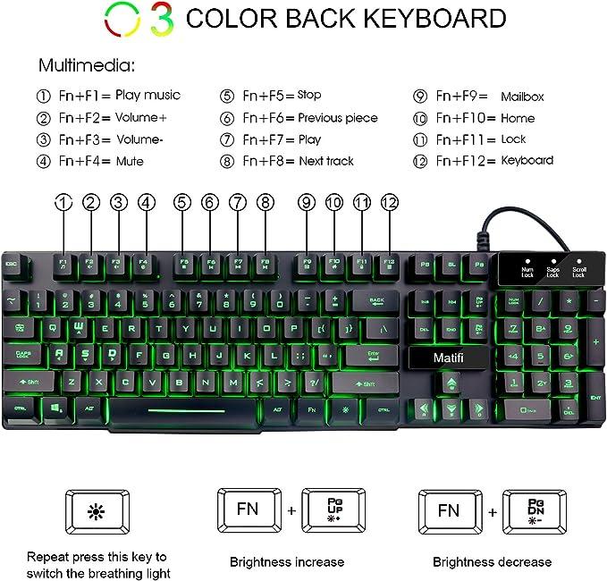 Mafiti RK100 teclado mecánico con cable USB y retroiluminación LED de 3 colores, 104 teclas