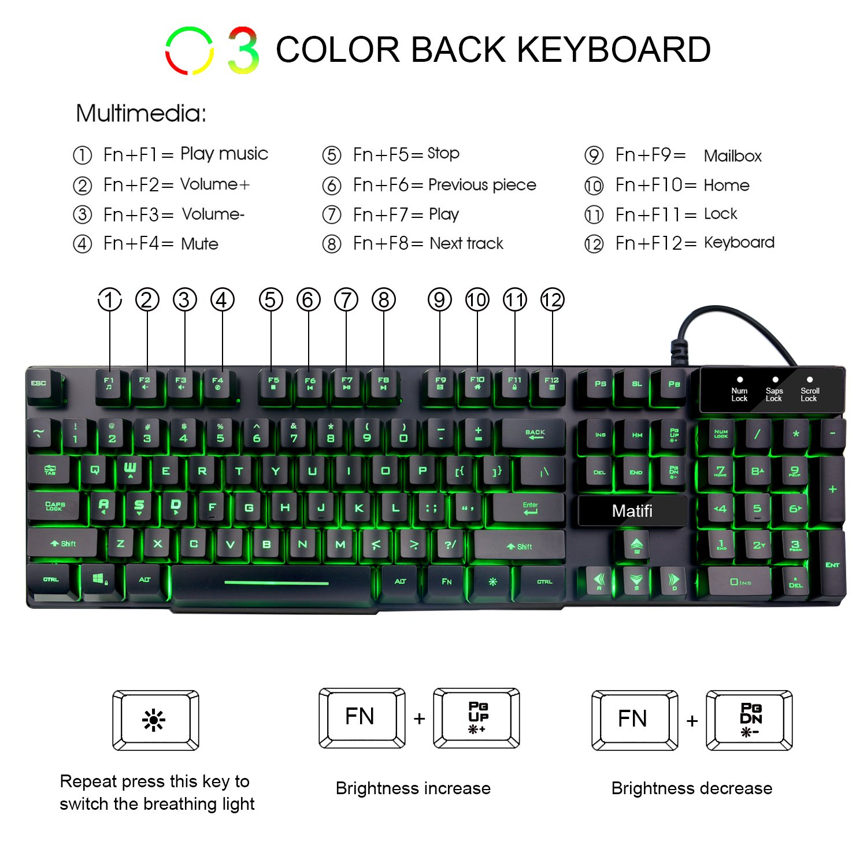 Amazon.com: Mafiti RK100 3 Color LED Backlit Keyboard. USB Wired ...