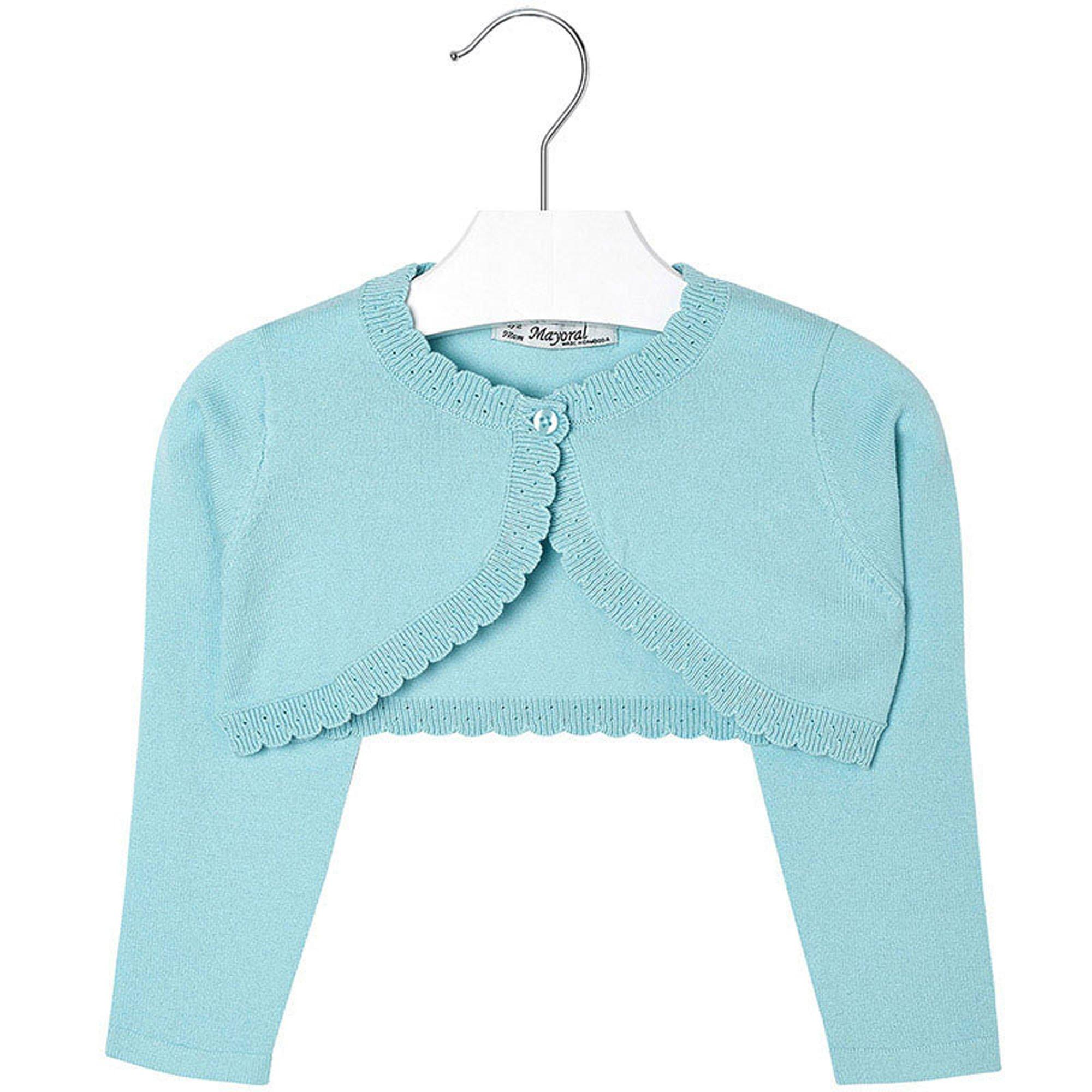 Mayoral Girls 2T-9 Aqua-Blue Scallop Edge Knit Shrug Cardigan Sweater, Aqua,4