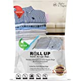 Alpha & Sigma Space Saver Roll Up Storage Bags 10 Pieces M,L Sizes | Practical & Reusable Compression Bags With Ziplock | For Garments, Baby Clothes, Suitcases, Traveling, Underbed, Beddings & More