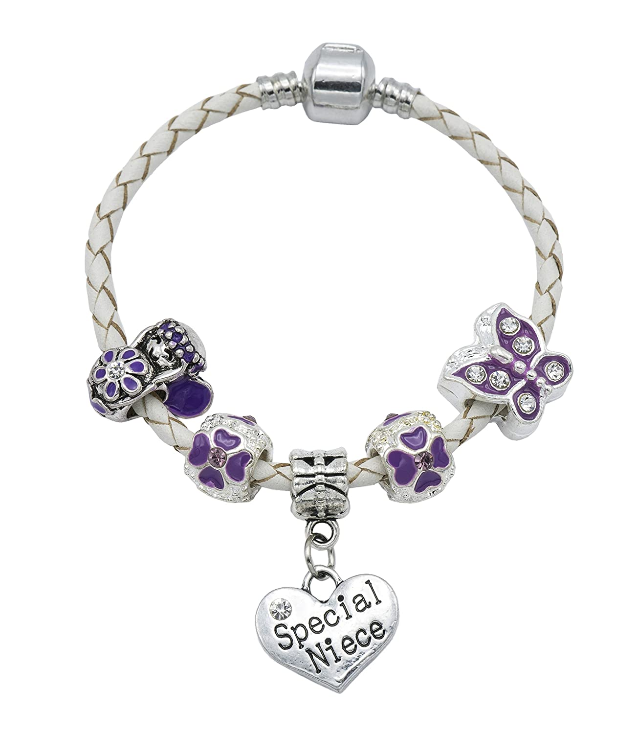 'The Purple Fairy' Special Niece Cream Leather Charm Bracelet for Girls Presented in High Quality Gift Pouch Jewellery Hut BRCRMPFSPECIALNIECE
