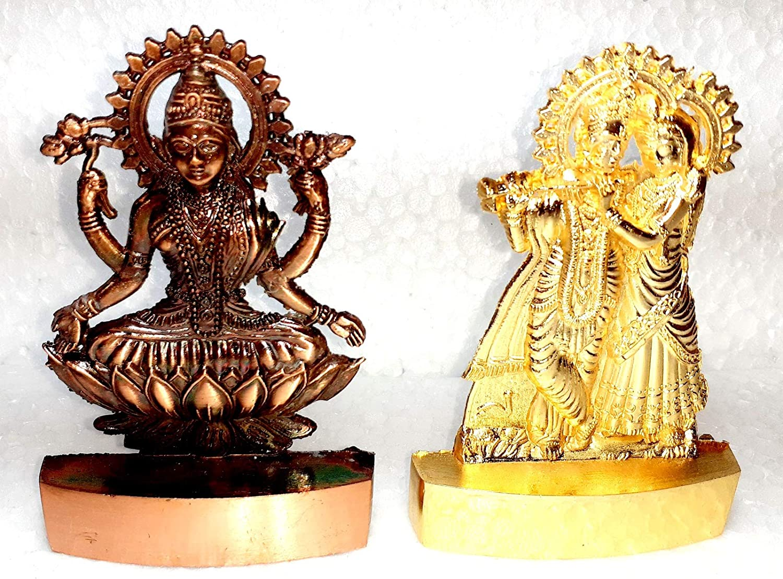 2 Pic Dimensions 3.0 x4.0 INCH Marti Lord Radha Krishna & Laxmi Ji Idol God of Love Playing Flute for Home Décor Living Room Metal Statue Temple Gift Item Gold Polish