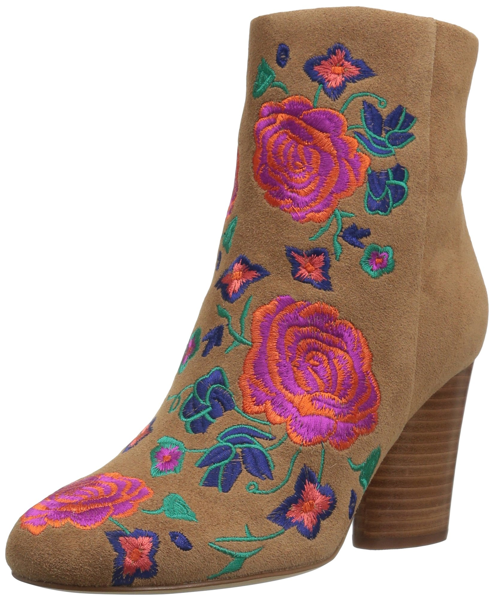 The Fix Women's Nash Floral Embroidery Oval Heel Ankle Bootie, Havana Tan, 8 B US