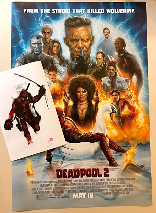 Amazon Com Movie Poster Deadpool 2 27x40 With Deadpool 11x17 Cc Promo Print Included Posters Prints