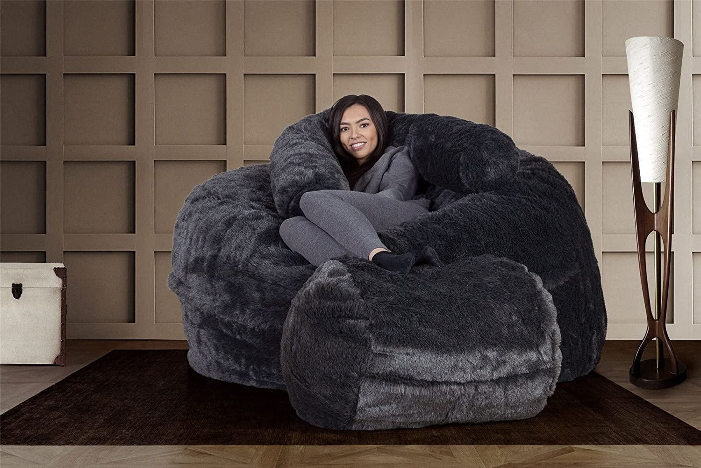 488e7706f0fe Lounge Pug CloudSac® Huge Memory Foam - Fluffy FAUX FUR - GIANT Bean Bag  Sofa - Badger Black  Amazon.co.uk  Kitchen   Home