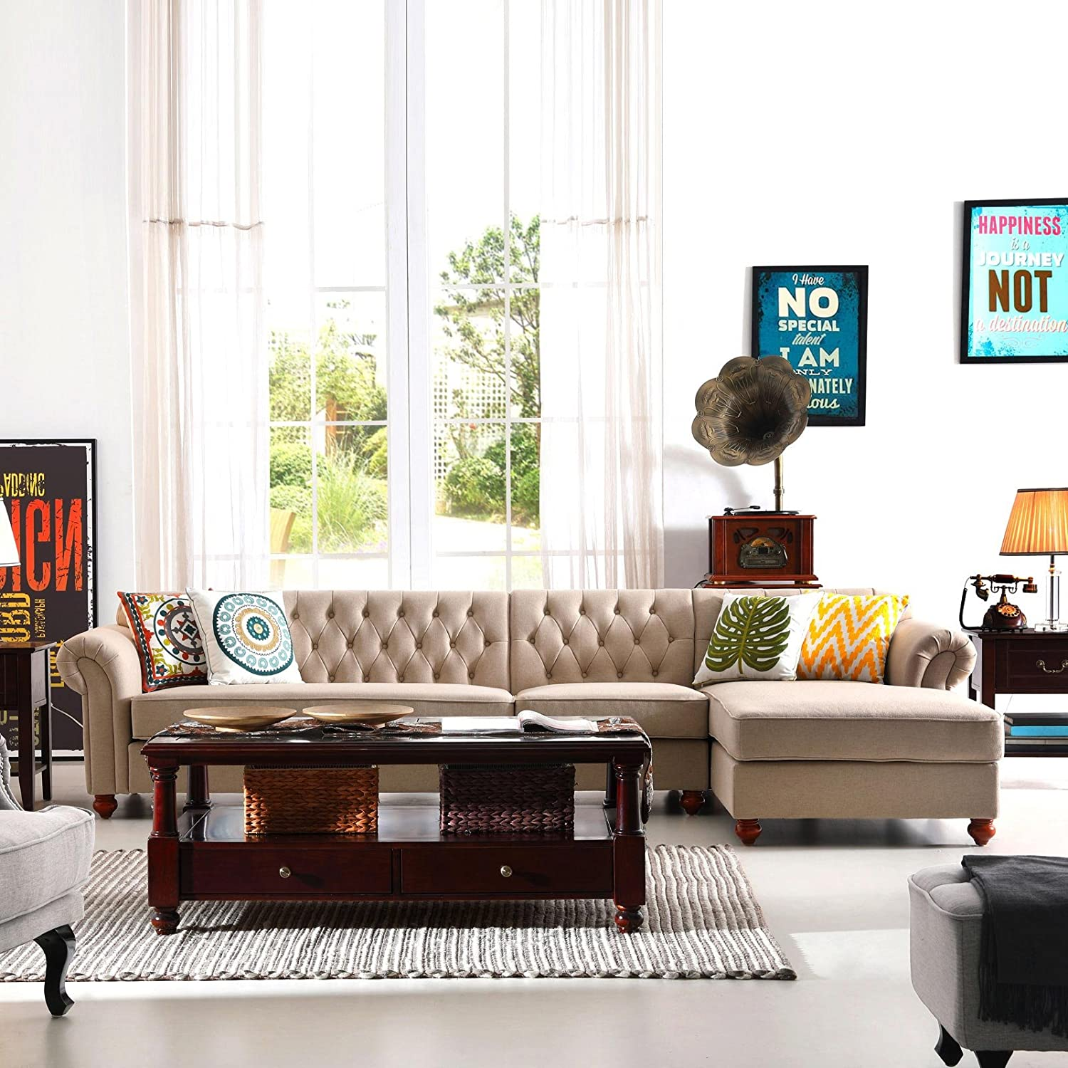 Amazon.com: 3PCS French Chesterfield Tufted Sectional Sofa, Linen ...
