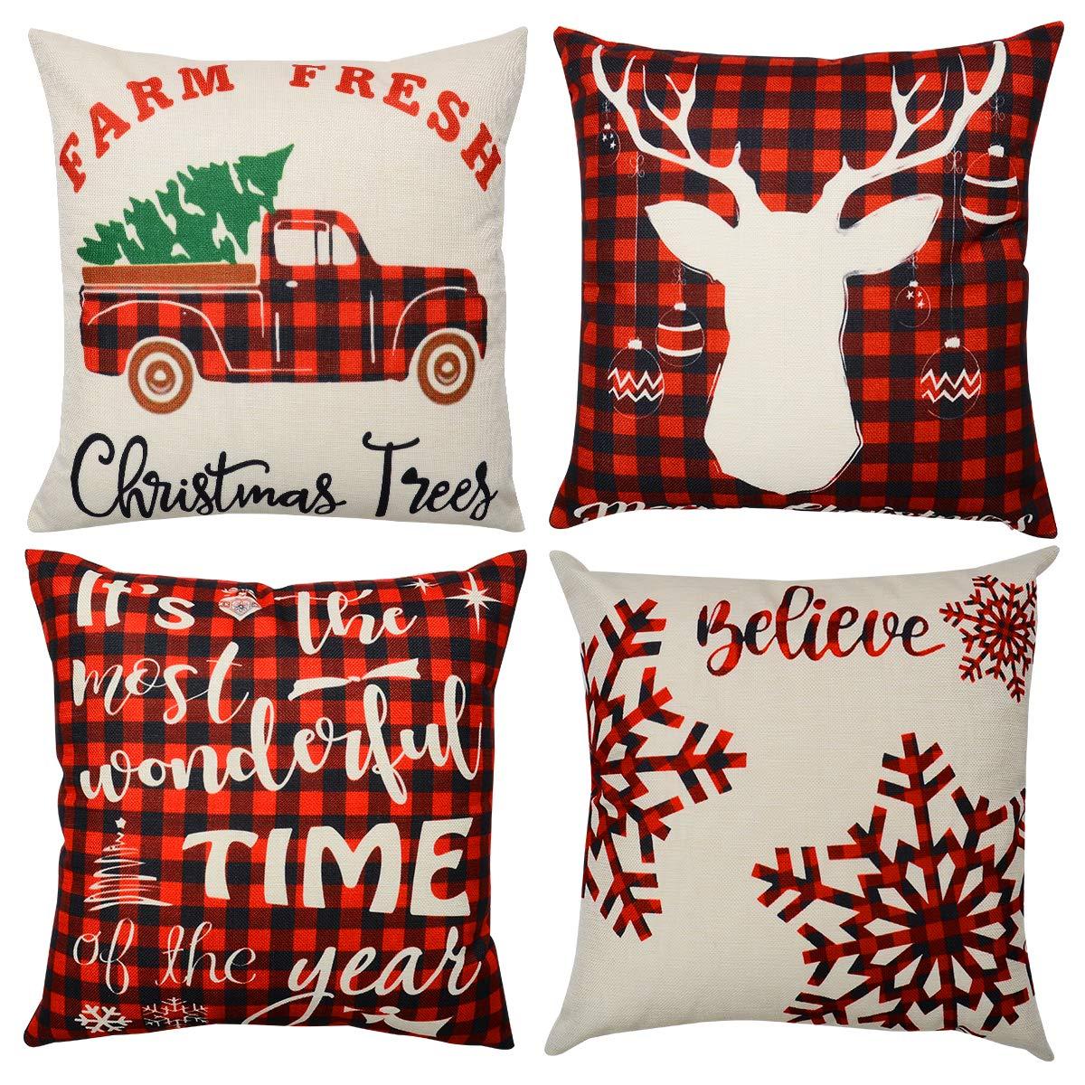 Merry Christmas Throw Pillow Case Xmas Velet Cushion Cover Sofa Car Decor US