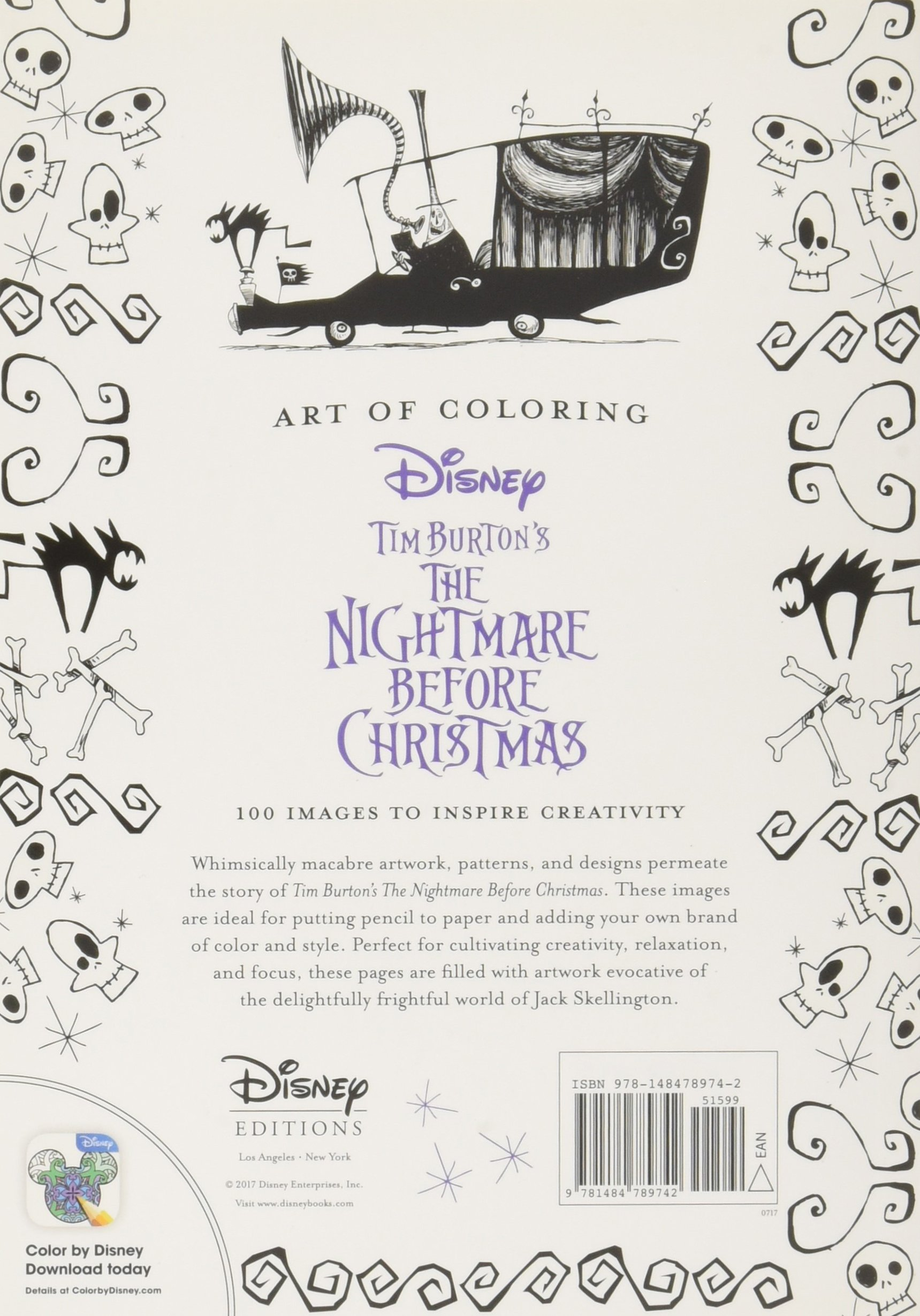 Art Of Coloring Tim Burtons The Nightmare Before Christmas 100 Images To Inspire Creativity DBG 9781484789742 Amazon Books