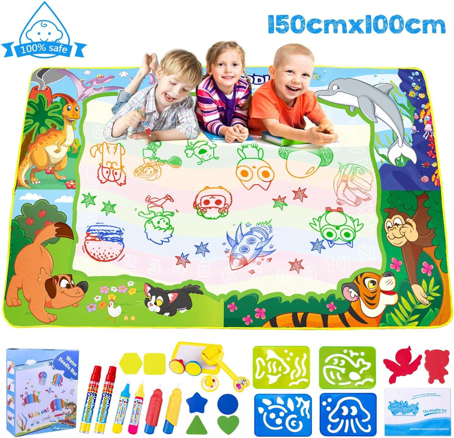 Omew Agua Dibujo Pintura,Esteras de Agua Doodle,150 * 100cm de Mayor tamaño , Superficie de Dibujo Extra Grande de 4 Colores, con 6 bolígrafos y Herramienta de Sello de Rodillo,Regalo para niños