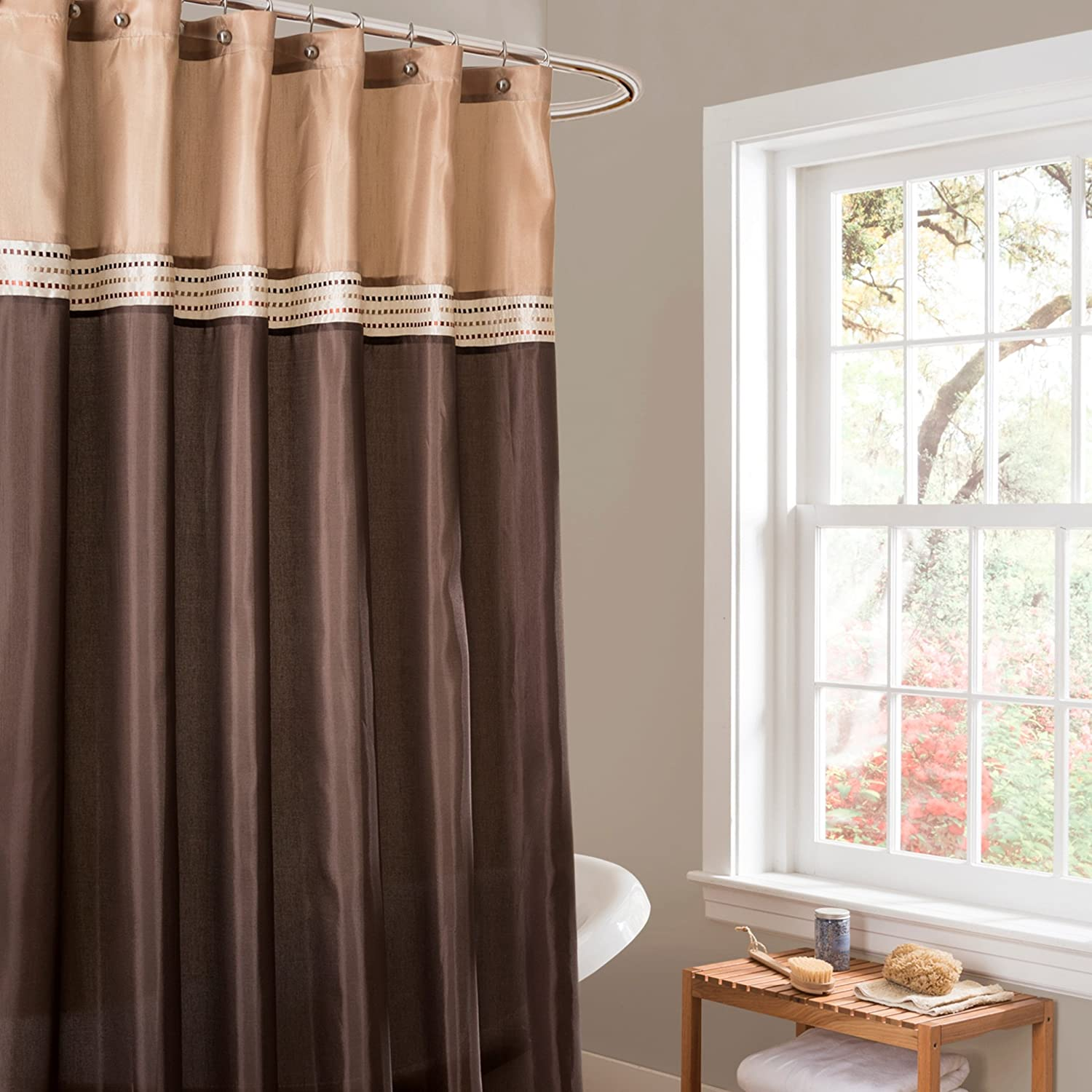 Amazon.com: Lush Decor Terra Shower Curtain, 72 by 72-Inch, Brown ...